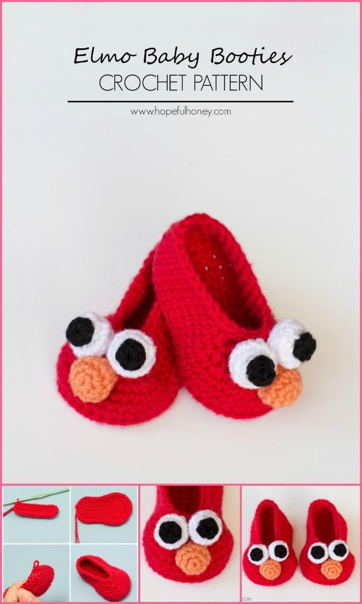 Crochet Elmo Baby Booties - Top 40 Free Crochet Baby Booties Patterns