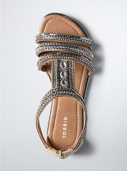 Multi Beaded Gladiator Sandals (Wide Width)Multi Beaded Gladiator Sandals (Wide Width), SILVER