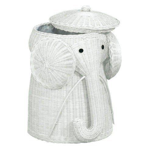 Rattan Elephant Hamper 25 Hx17 D White By Home