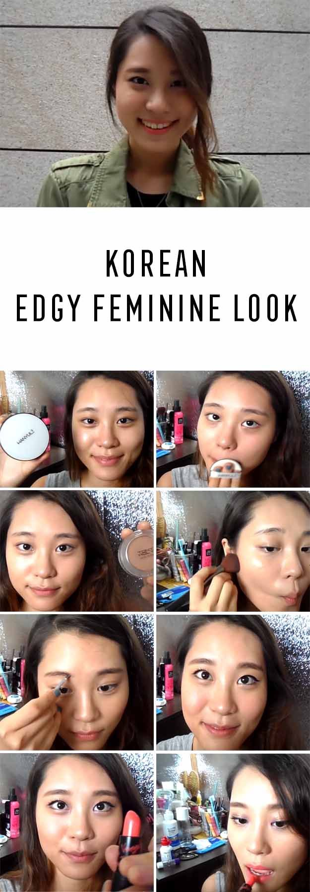 Best Korean Makeup Tutorials - Get Ready With Me KOREAN EDGY FEMININE LOOK Giwon - Natural Step By Step Tutorials For Ulzzang, Pony, Puppy Eyes, Eyeshadows, Kpop, Eyebrows, Eyeliner and even Hairstyles. Super Cute DIY And Easy Contouring, Foundation, and Simple Dewy Skin Help For Beginners - https://www.thegoddess.com/best-korean-makeup-tutorials