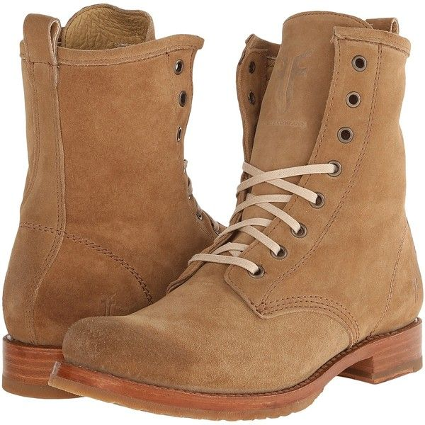 Frye Veronica Combat (Camel Oiled Suede) Women's Lace-up Boots ($175) ❤ liked on Polyvore featuring shoes, boots, ankle booties, ankle boots, tan, lace up combat boots, lace up booties, tan lace up booties and tan suede booties