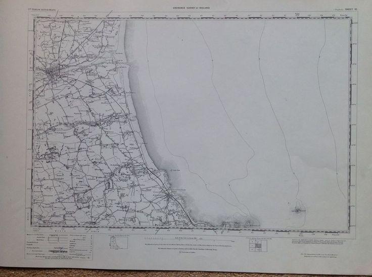 Ordnance Survey Map Drogheda Ireland One Inch Flat 1900 Version Cartography