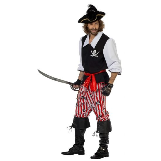 3-delig piraten kostuum voor heren. Dit piraten kostuum voor heren bestaat uit een zwart/wit hesje met een piraten logo, rood/wit gestreepte broek met doodshoofden, zwaarden en touwen en een rode riem. Carnavalskleding 2015 #carnaval