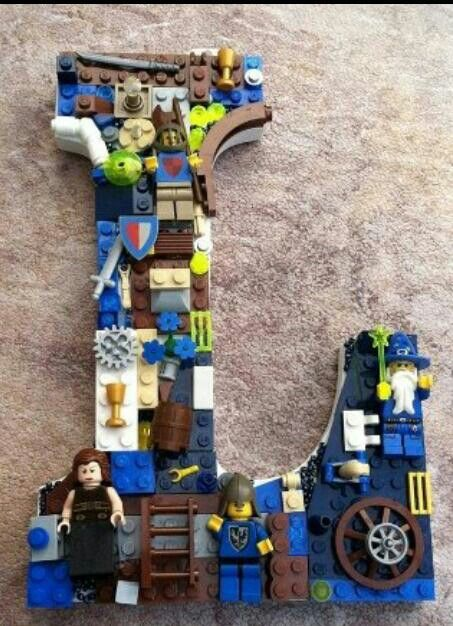 Lego letter for boys room :) O-Oh! The boys would love to create this...