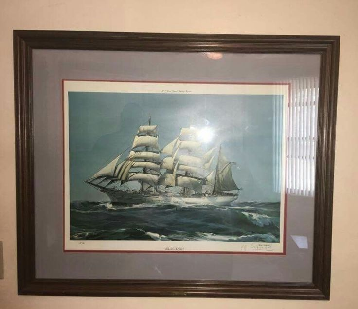US Coast Guard Academy Barque Eagle Framed Signed Lithograph​ Kipp Soldwedel #Realism