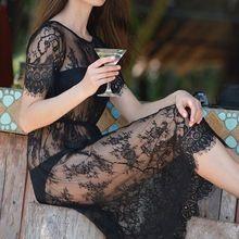 Лето Женщины Midi Платья Длинные Черные С Коротким Рукавом О Шеи See Through одежда для Пляжа Кружева Sexy Dress(China (Mainland))