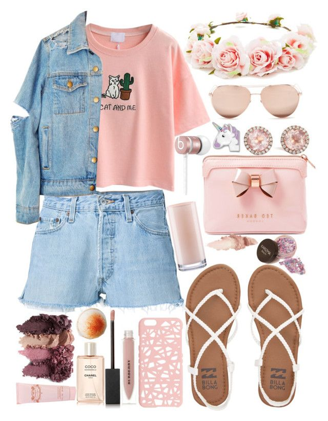 """""""Pastel look"""" by nelicaaa ❤ liked on Polyvore featuring WithChic, RE/DONE, Billabong, Miss Selfridge, Beats by Dr. Dre, Dana Rebecca Designs, Burberry, Chanel, Jessica Simpson and Ted Baker"""
