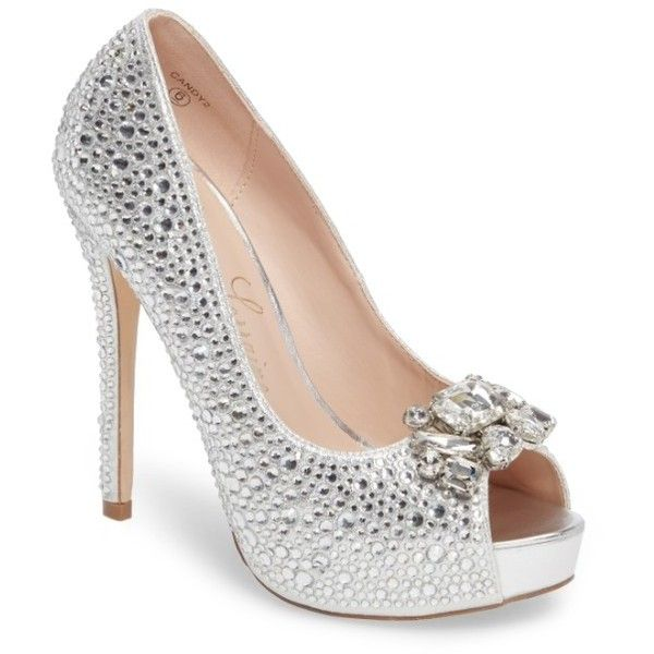 Women's Lauren Lorraine Candy 2 Embellished Platform Pump ($119) ❤ liked on Polyvore featuring shoes, pumps, silver, platform shoes, peep-toe pumps, platform stilettos, silver pumps and evening pumps