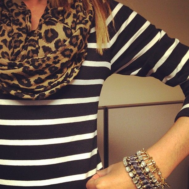 Stripes and leopard. Get this scarf at www.wildflower-boutique.com