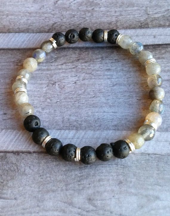 Labradorite and Lava bracelet grey and black by Cicadella on Etsy