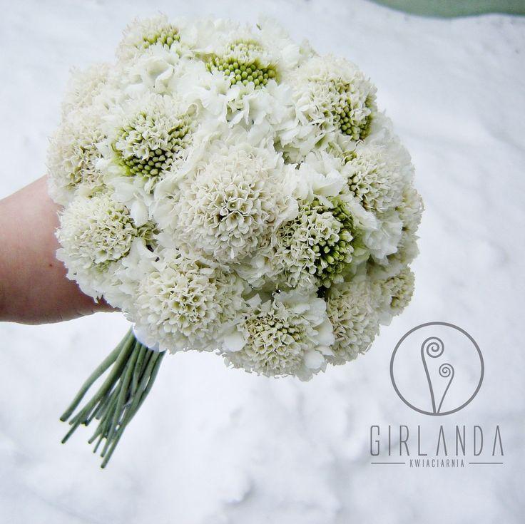 Wedding bouquet - white Scabiosa