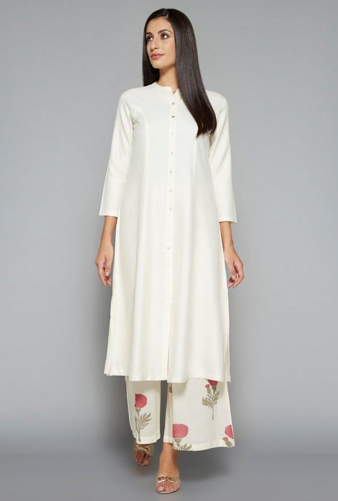 Zuba by Westside Off White Floral Print Palazzo