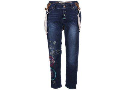 Modré džíny s barevnou výšivkou a kšandami Desigual Lurdes
