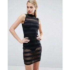 ASOS alto Neck Stripe Stripe Bodycon mini vestido com roupa interior