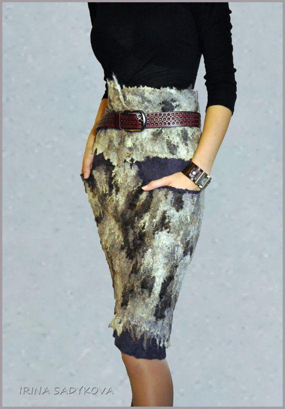 Skirt felted Northern Lights by IrinaSadykova on Etsy