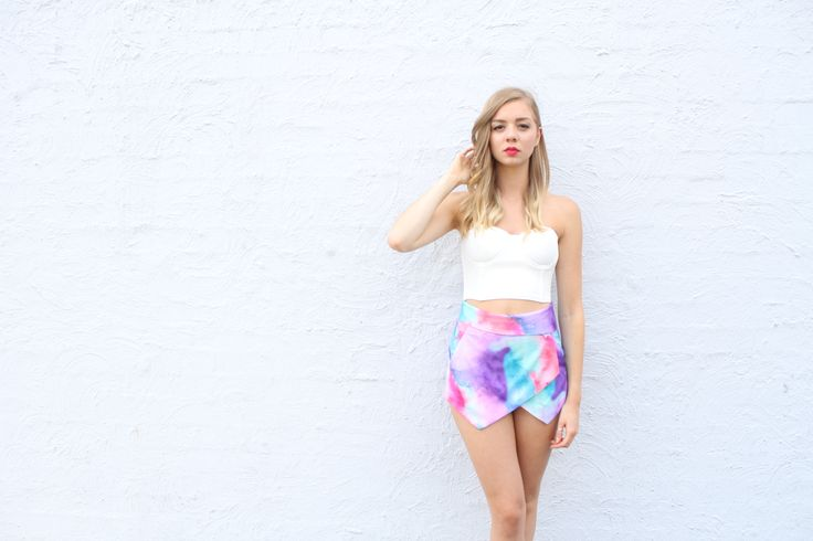 Watercolour skorts teamed with the betty bustier is perfection.