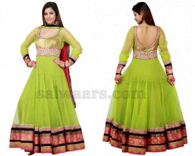 Green Long Salwar Kameez with full hands
