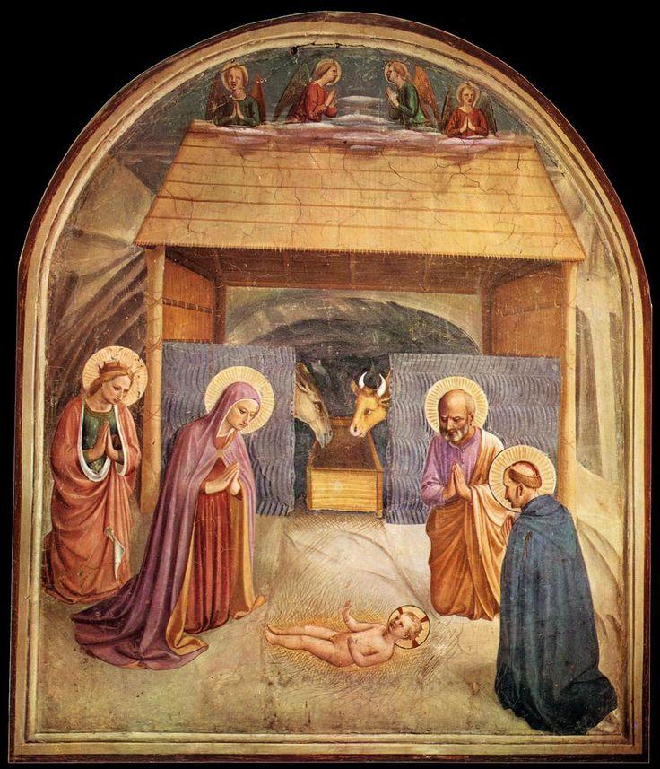 Beato Angelico, Natività, Affresco a San Marco (cellule 5 #)  Questi semplici affreschi nelle celle dei frati nel convento di San Marco sono stati dipinti di Beato Angelico e della sua bottega nei primi anni del 1440.