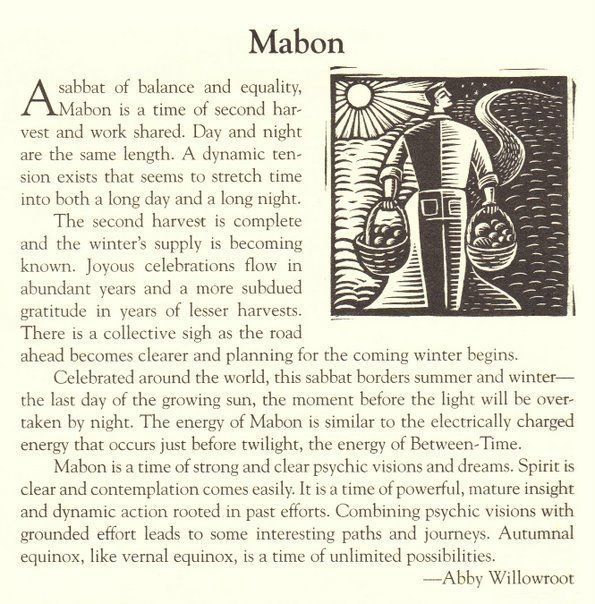 "Autumn Equinox:  ""Mabon,"" by Abby Willowroot. Time of strong and clear psychic visions and dreams. Last day of the growing sun"