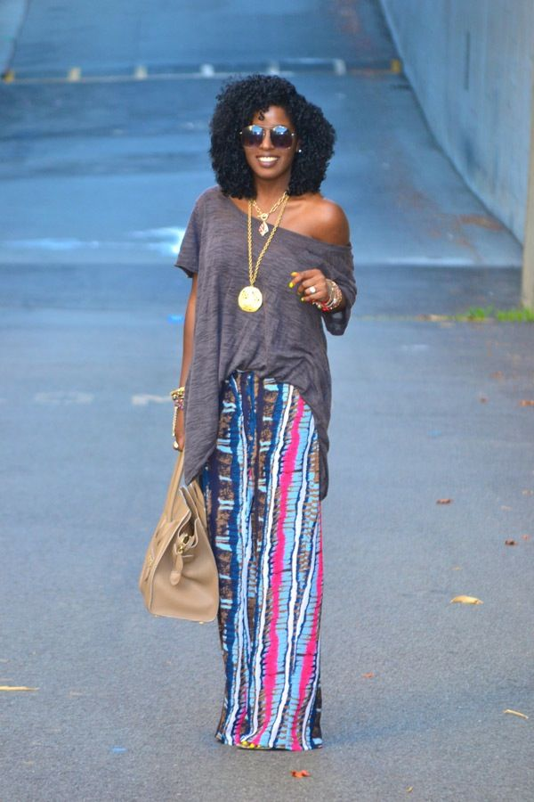 Oversize Boho Blouse + Tribal Print Wide-Leg Pants  wishing my hair curled like this