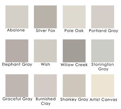 Lavender grays:  Benjamin Moore Abalone  Benjamin Moore Silver Fox  Benjamin Moore Pale Oak  Benjamin Moore Portland Gray  Benjamin Moore Elephant Gray  Benjamin Moore Wish  Benjamin Moore Willow Creek  Benjamin Moore Stonington Gray  Behr Graceful Gray  Behr Burnished Clay  Martha Stewart Sharkey Gray