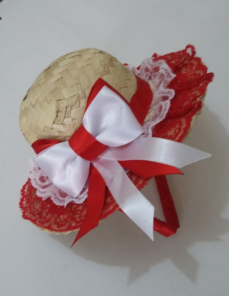 Tiara para festa junina, chapéu médio em palha com adornos, disponível em vários cores, Preço especial para atacado.