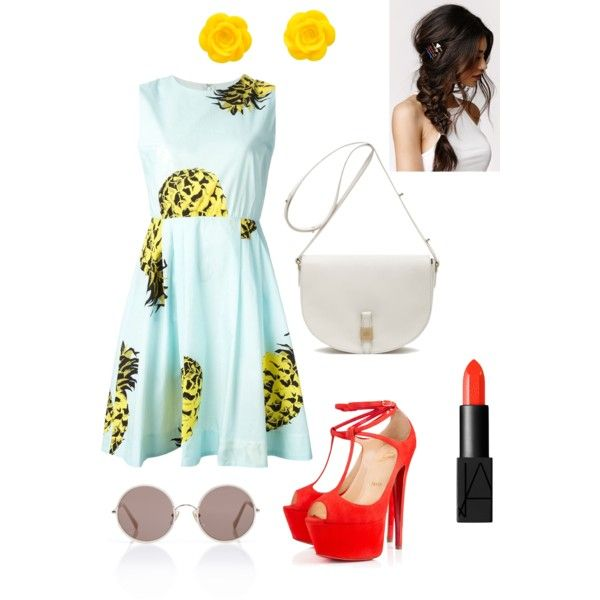 Untitled #4 by lorencovaaneta on Polyvore featuring polyvore, fashion, style, MSGM, Christian Louboutin, Mulberry, Sunday Somewhere, With Love From CA and NARS Cosmetics