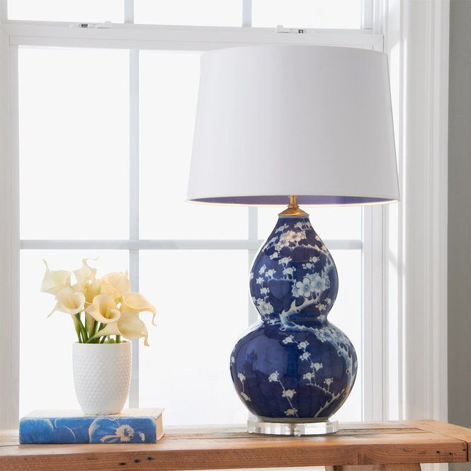 Check Out Cherry Blossom Porcelain Gourd Table Lamp From Shades Of Light This Double Gourd Table Lamp Features Hand Painted Wh Table Lamp Lamp White Table Lamp