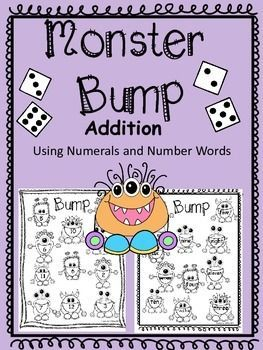 Enjoy Monster Math Bump as you practice simple addition using numerals and number words. One game card includes just numbers, another includes numerals and number words, and another includes just number words. Directions are included and the you can run the directions off on the back of the game boards for