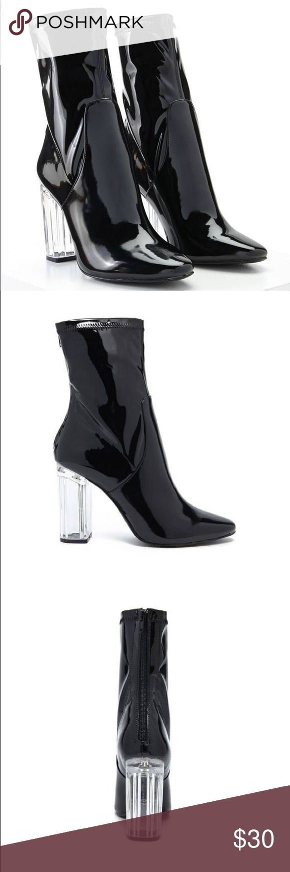 Black Faux Patent Leather Boots Selling Lucite Heel Ankle Boots from Forever 21. Brand new never worn, received them as a Christmas gift but due to F21's return policy I could not exchange them for a bigger size. They're a size 8 but they fit more like a 7.5 in my opinion since the material has no stretch at all. Very cute boots! Forever 21 Shoes Ankle Boots & Booties