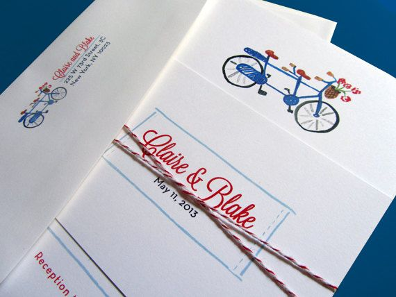 Bicycle Built for Two Wedding Invitation Suite