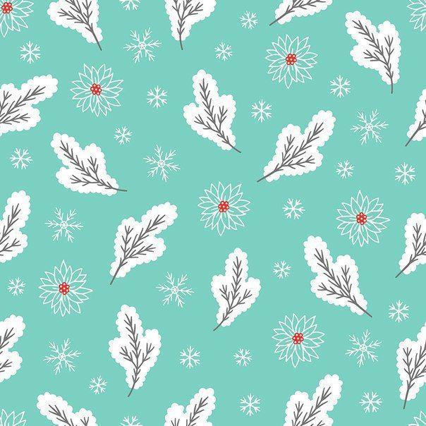 Зимний фон с еловыми ветками и снежинками.