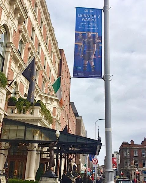 Leinster Rugby Lamppost Banners outside the Shelbourne on Stephen's Green.  +...