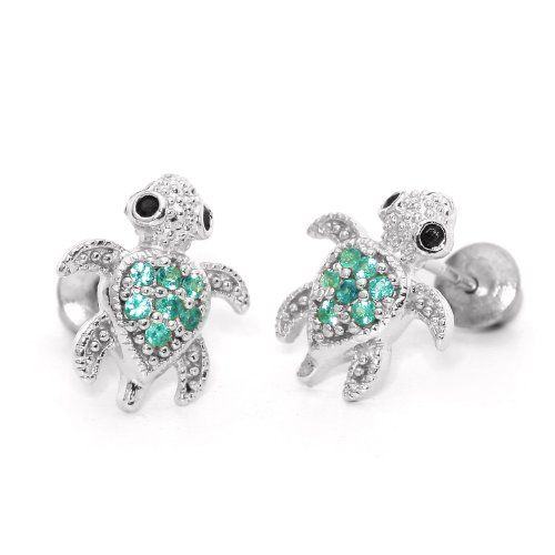 14k Gold Plated 925 Silver Children Emerald Turtle Back Earrings Baby Toddler Kids