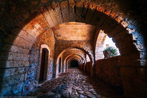 Arches at the Arkadiou Monastery, Crete, Greece