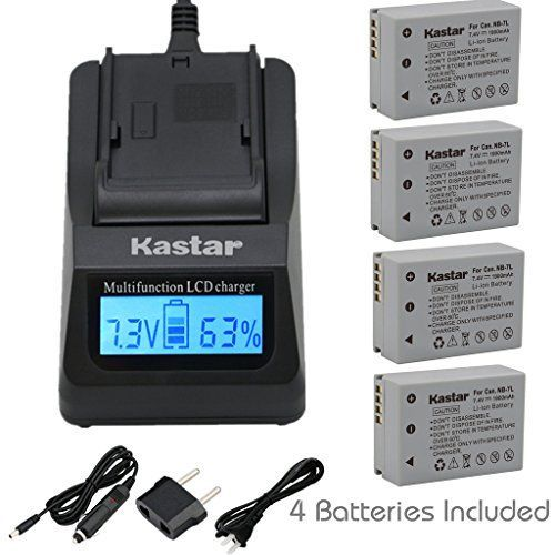 Kastar Ultra Fast Charger(3X faster) Kit and NB-7L Battery (4-Pack) for Canon NB7L, CB-2LZE work with Canon PowerShot G10, PowerShot G11, PowerShot G12, PowerShot SX30 IS Digital Cameras