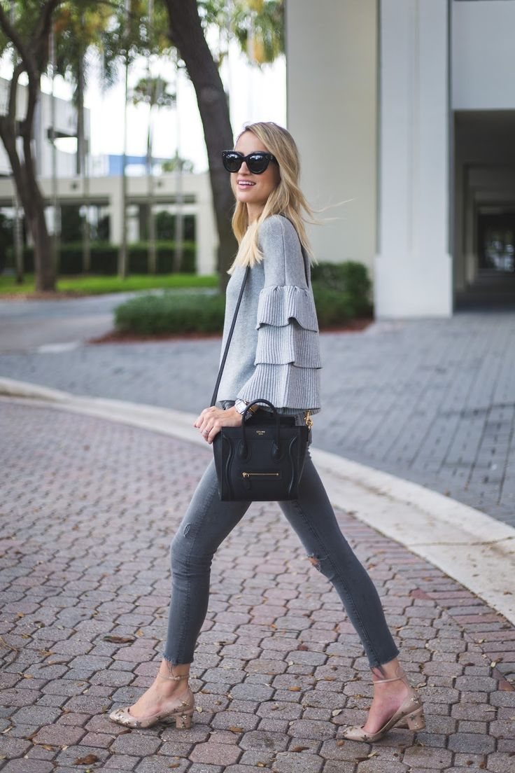 Little Blonde Book A Fashion Blog by Taylor Morgan: Star Studded. Grey ruffle sweater+dark grey ripped jeans+nude ankle strap pumps with golden stars+black shoulder bag+black sunglasses. Fall Transitional Outfit 2016