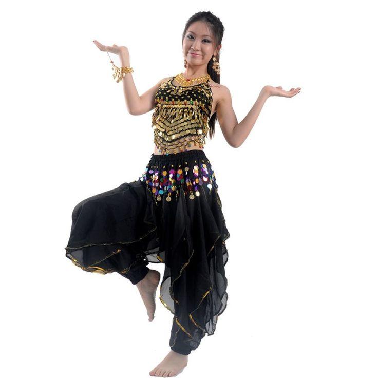 Belly Dance Pepper Top Bra Wavy Harem Pants Skirt Set Coins Carnival Costume UK