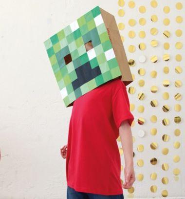 DIY Cardboard box Minecraft (Creeper) mask - easy costume // Minecraft (Creeper) maszk egyszerűen papírból - jelmez gyerekeknek // Mindy - craft tutorial collection // #crafts #DIY #craftTutorial #tutorial
