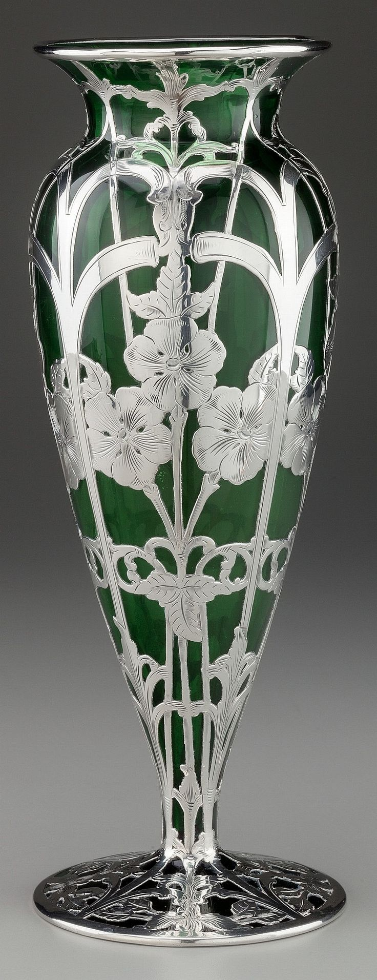 551 best antiquevintage glass vase images on pinterest glass lvin silver overlay glass vase providence rhode island circa 1900 the bulbous green glass vase with a flared lip rim and raised on a circular spreading reviewsmspy