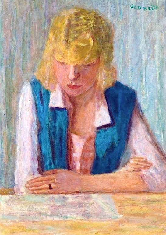 La Blonde Au Gilet Bleu by Pierre Bonnard