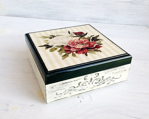 Shabby Chic Roses Box Vintage Box Roses Jewelry by ShabbyGifts