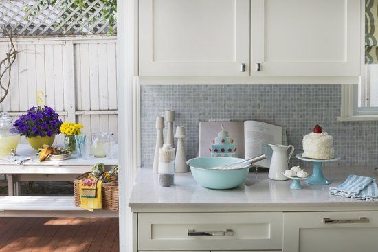 Melissa Joan Hart Has a Lego Portrait of Herself in Her Truly Stunning Home: The kitchen was completed with a tile backsplash from Ann Sacks and custom-made cabinets.