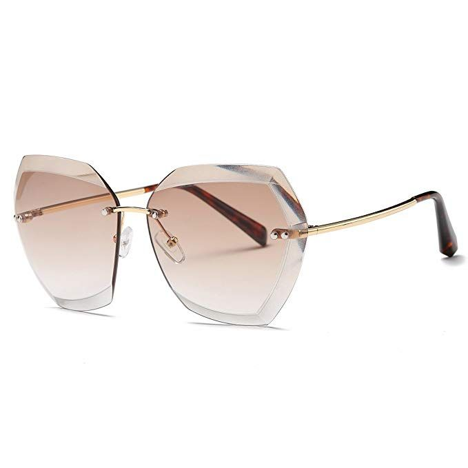 AEVOGUE Sunglasses For Women Square Rimless Diamond cutting Lens Brand Designer