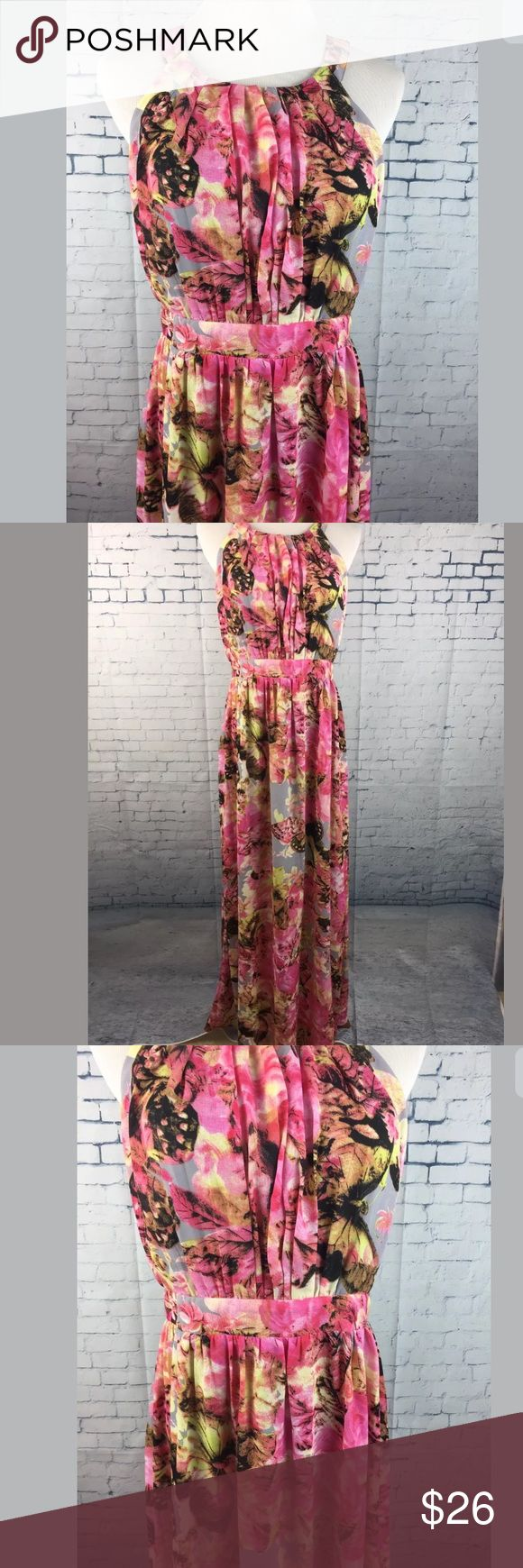Filly Flair Maxi Dress Large Floral Butterflies New Filly Flair Maxi Dress Size Large Floral Butterflies NWT  Lined  Zipper in back  Smoke free home. Filly Flair Dresses Maxi