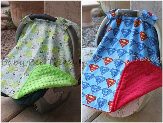 Infant Car Seat Canopy - Superman