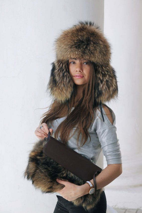 c86d98ef2 Real raccoon fur hat, winter hat, ushanka, fur hood, wolf hood ...
