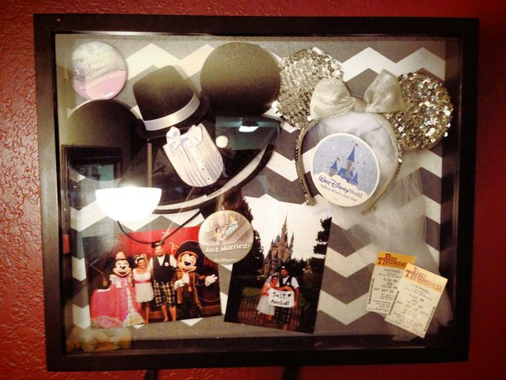 We didn't go to Disney but I like the idea of a honeymoon shadowbox. Use my garter, our sail and sign cards, charms from the ship, wrist bands, rocks and shells from the beach, etc.