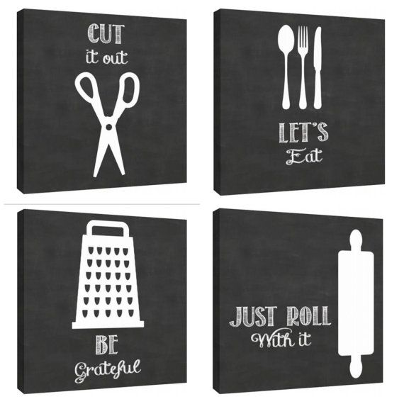 Clever Kitchen art wall decor utensils by TypeAndStyle on Etsy