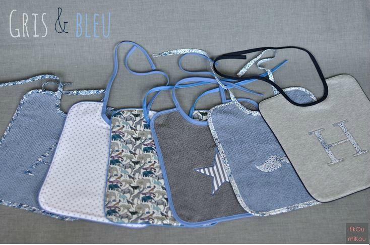 Bavoirs gris & bleu - fikOu miKou